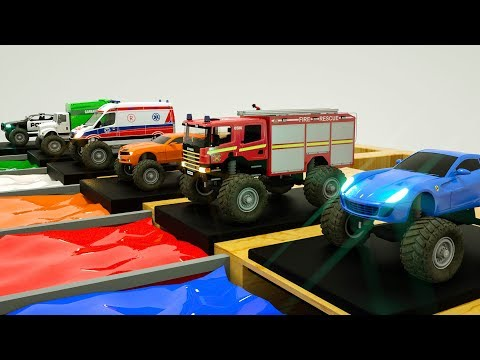 Learn Street Vehicles Colors with Dump Truck, Garbage Truck, Fire Truck, Ambulance Magic Liquid