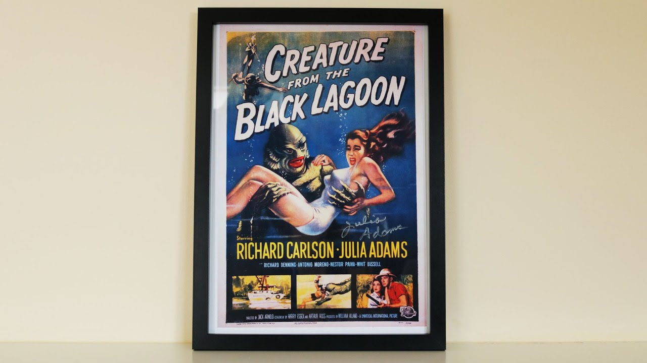 Framing my Julia Adams AUTOGRAPHED Creature From The Black Lagoon movie poster // Up In The Booth