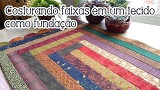 Tapete sem manta e com faixas costuradas em um tecido como fundação