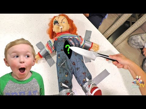 Cutting Chucky Open At 3AM! What's Inside Of A Chucky Doll?