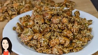 Maple Spiced Oven Roasted Nuts And Seeds - Crunchy Snack Recipe!