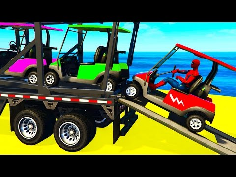 Thumbnail: SMALL COLOR CARS Transportation in Spiderman Kids Cartoon w Colors for Children Nursery Rhymes