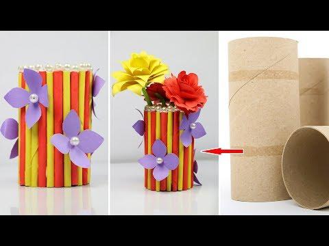 How to make a paper vase at home - DIY Simple paper craft - Making Paper Flower Vase | sb crafts