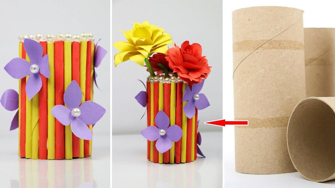How To Make A Paper Vase At Home Diy Simple Paper Craft Making Paper Flower Vase Sb Crafts