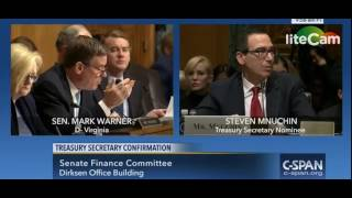 Sen. Mark Warner Questions Steven Mnuchin on Debt Ceiling, Fannie/Freddie