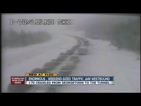 Near whiteout conditions on I-70 into mountains