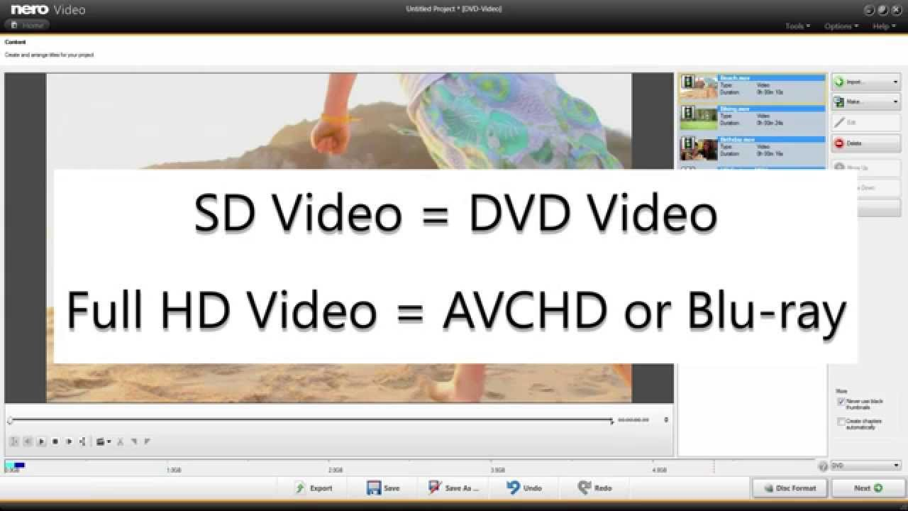 Easy switch the Video Disc output format in Nero Video Disc Authoring on  the fly