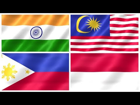 FLAGS OF ASIA – National Flags Of Asian Countries For Kids, Kindergarten & Toddlers