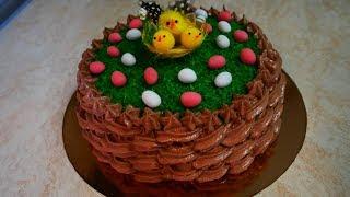 Торт ПАСХАЛЬНАЯ КОРЗИНКА  украшение тортов белково заварным кремом Торт на праздник Торт на пасху