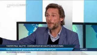 Thierry-Paul Valette coordinateur des Gilets Jaunes sur le plateau de TV5Monde