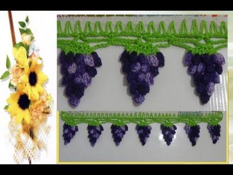 Barrado em Crochê de frutas ( Uvas ) - Eliz Flor
