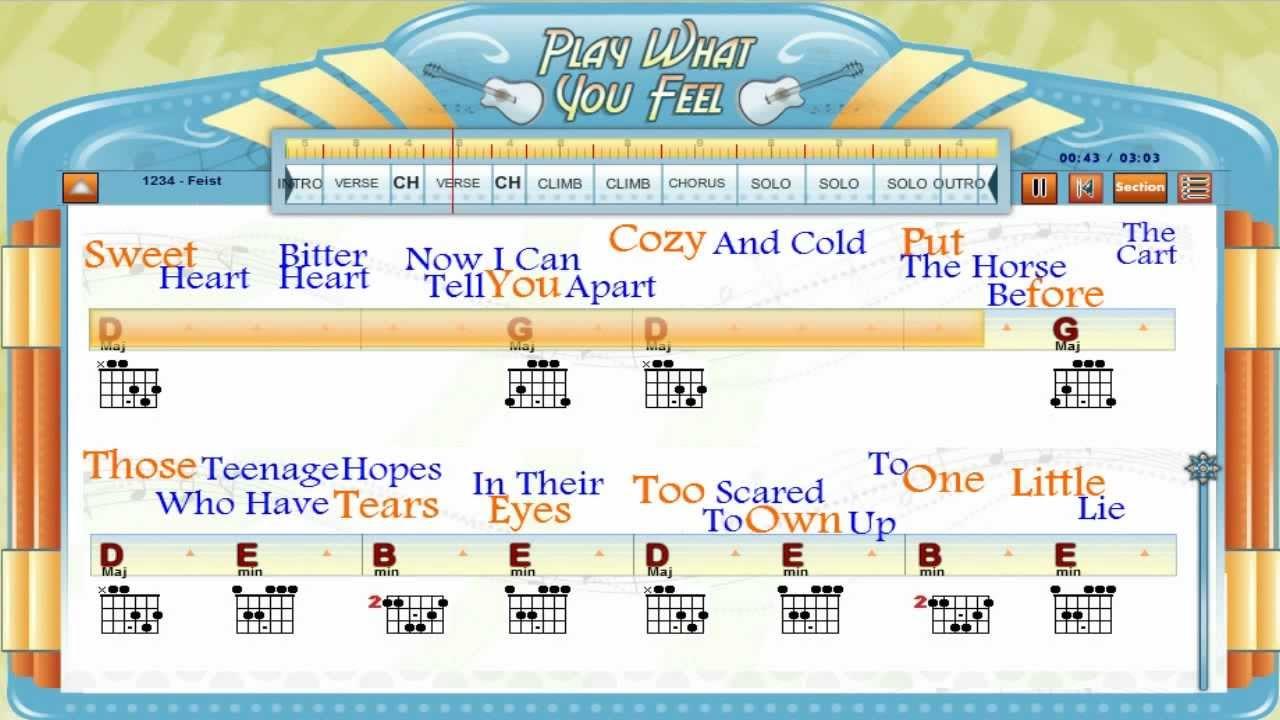 1234 Feist Guitaraoke Chords Lyrics Guitar Lesson