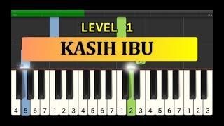 nada piano kasih ibu - tutorial piano grade 1 - lagu anak anak indonesia - not pianika
