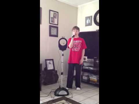 Sean singing Beauty School Dropout Karaoke
