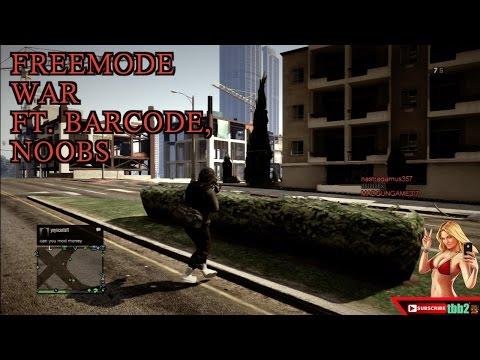 (GTA 5 Online) Freemode War ll ft. barcode ll NOOBS