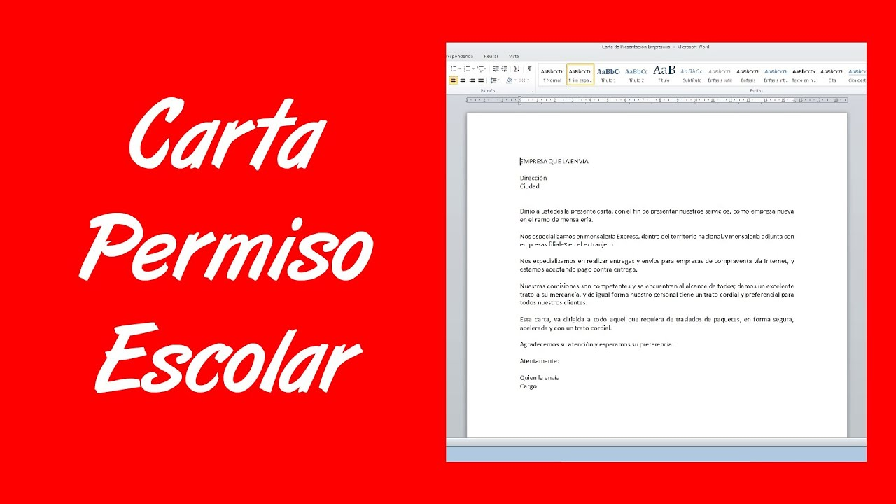 Como hacer una carta de permiso escolar youtube