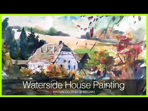 Watercolor demonstration | Waterside House Autumn Landscape 水彩で描く水辺の家