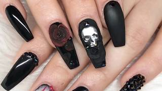 Skull And Roses | Acrylic Nails | Design Set