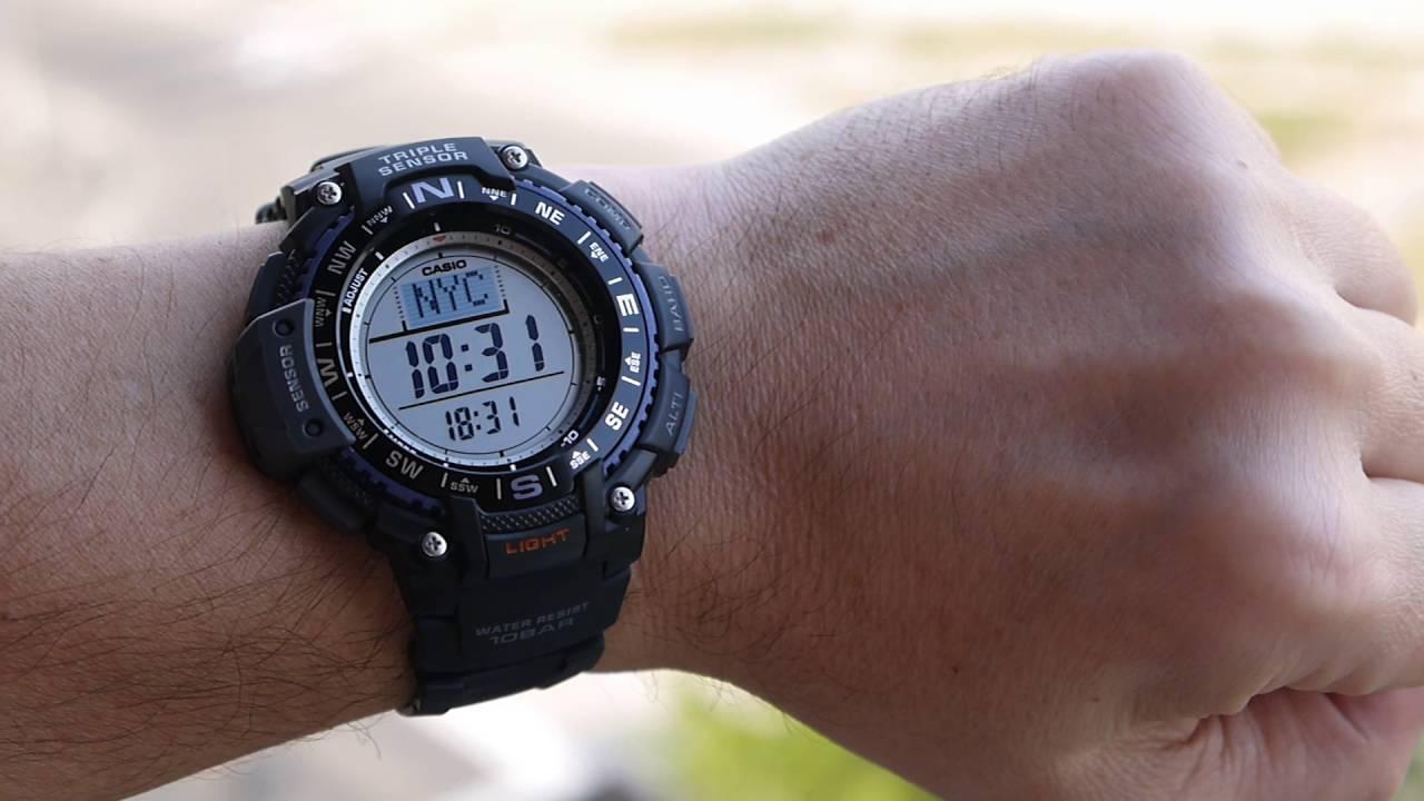 87a409755f46 Casio SGW-1000 1ACR Triple Sensor Digital Display Quartz Black Watch ...