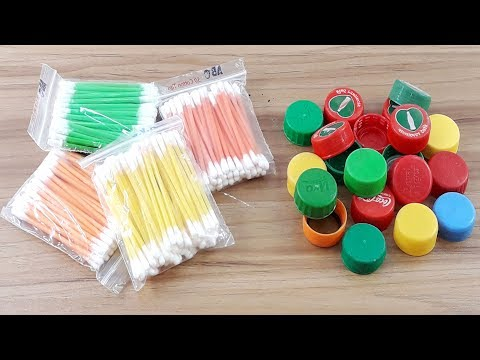 Cotton buds & Waste plastic bottle caps reuse idea | Best craft idea | DIY cotton buds