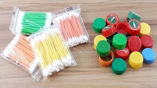 Cotton buds & Waste plastic bottle caps reuse idea | Best craft idea | DIY cotton buds