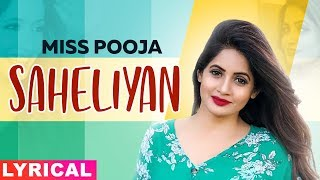 Saheliyan(Lyrical) | Miss Pooja Ft Harish Verma | G Guri | Latest Punjabi Song 2019 | Speed Records