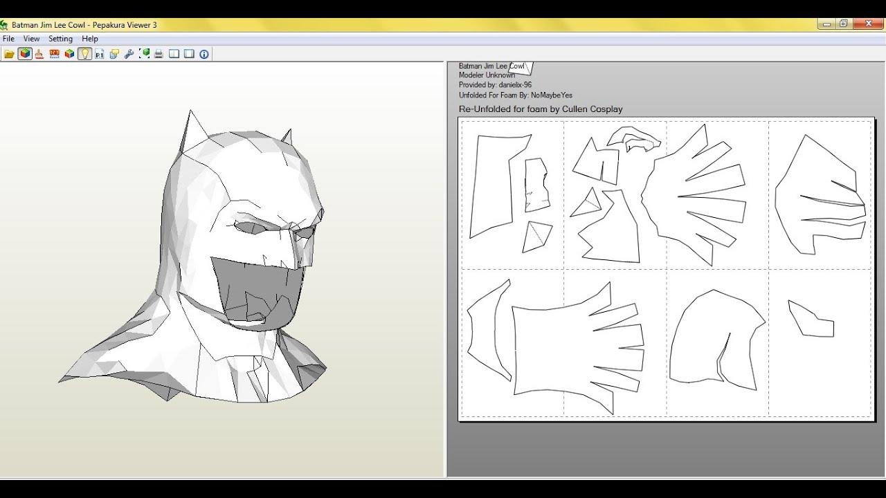 Tutorial, como hacer la mascara de batman (BvS) pepakura - YouTube
