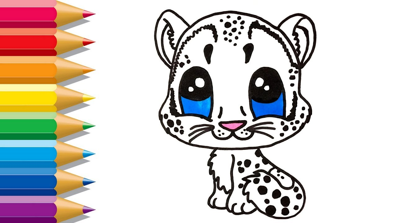 Cute Easy Snow Leopard Drawing