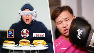 BLINDFOLDED REAL vs FAKE TAKEAWAY CHALLENGE [BOXING FORFEIT]
