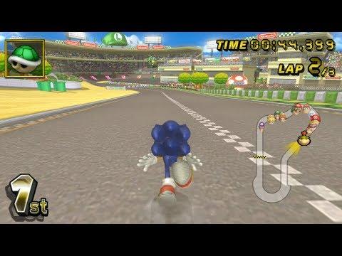 Sonic In Mario Kart Wii (Mushroom Cup)
