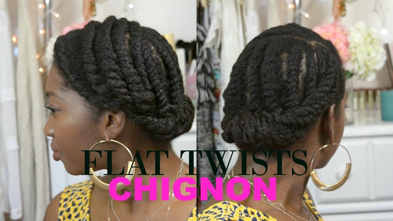 Natural Hair Protective Style Updo Chunky Flat Twists Chignon