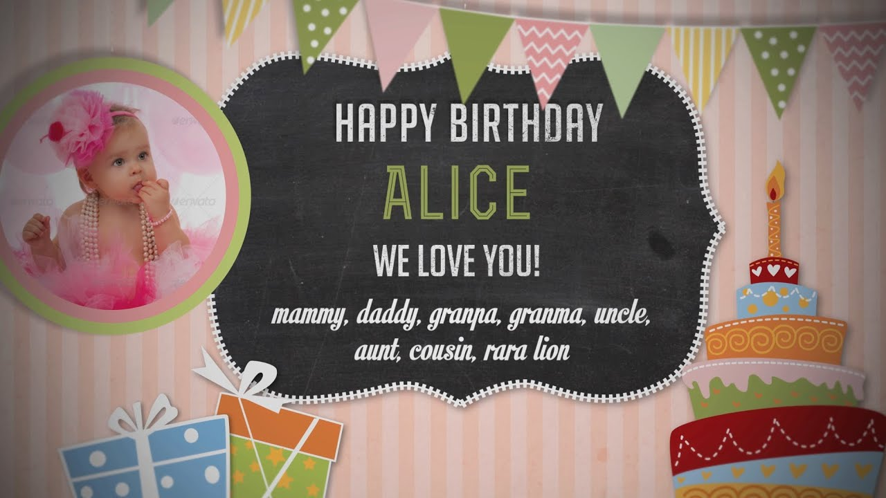 Happy Birthday Baby Photo Album   Girl Version   After Effects Royalty Free  Template   YouTube  Free Album Templates