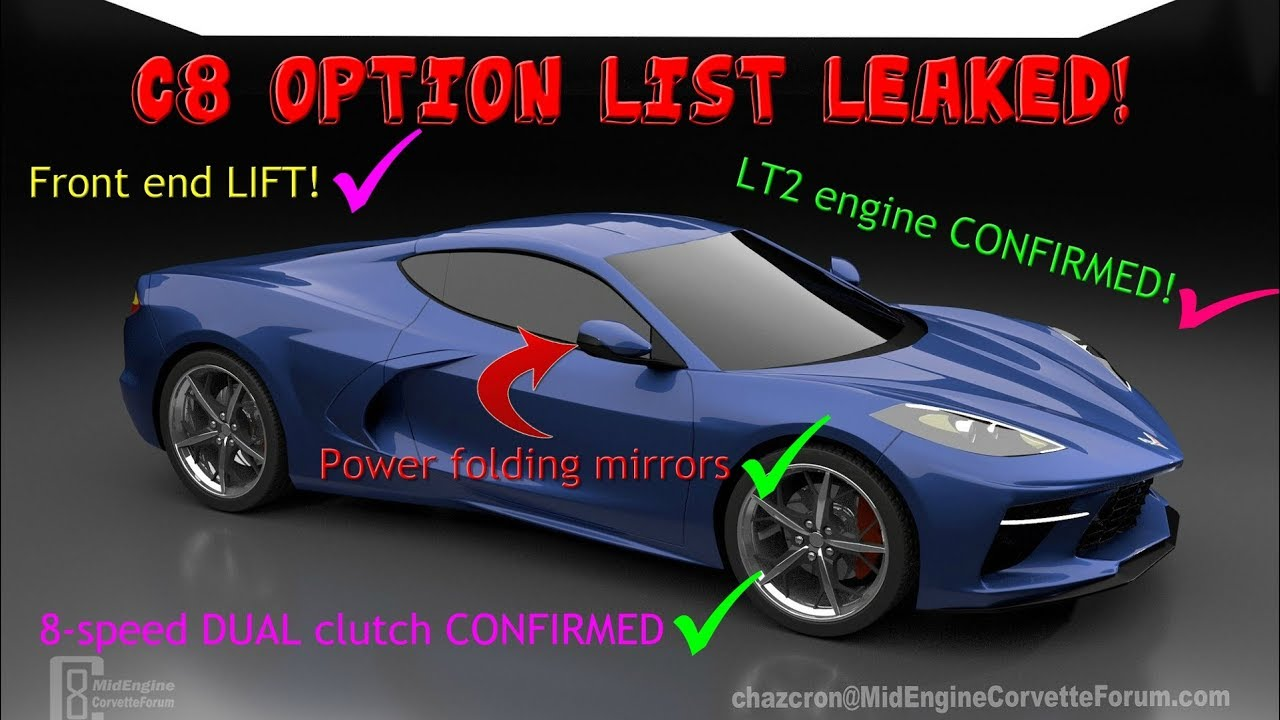 leaked list of options for the c8 mid engine corvette