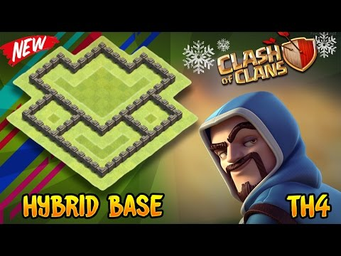 Clash of Clans - BEST Th4 Hybrid Base | Town Hall 4 Defense Base Layout (Anti Everything) 2018