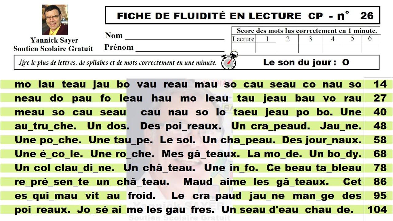 Exercices De Fluidite En Lecture Cp Ce1 Les Sons O Au Et Eau 26 Youtube