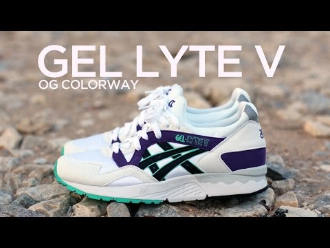 asics gel lyte v white purple green