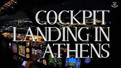 Boeing 737-800 - Cockpit landing in Athens at night, LGAV/ATH