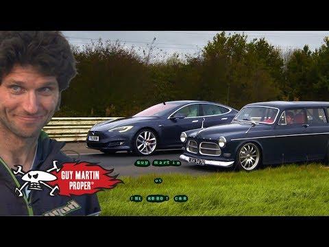 Tesla Drag Race - Guy's custom turbo Volvo VS The Model S | Guy Martin Proper