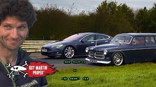 Tesla Drag Race - Guy's custom turbo Volvo VS The Model S | Guy Martin Proper