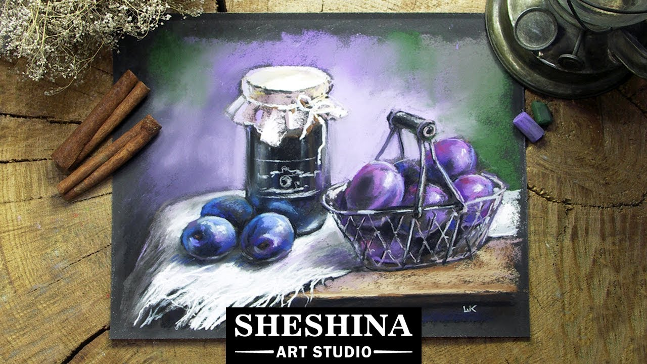 How To Draw A Still Life With Plums With Soft Pastels