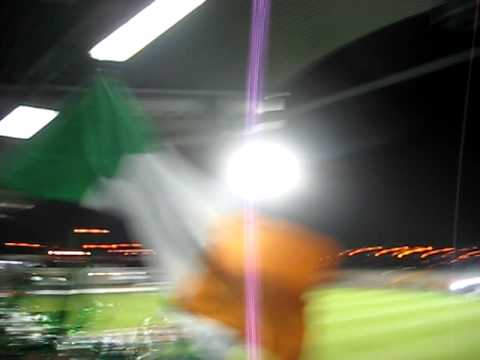 Shamrock Rovers fans at opening game in the Tallaght Stadium.