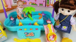 Baby doll Fishing play and slide toys play house story - ToyMong TV 토이몽
