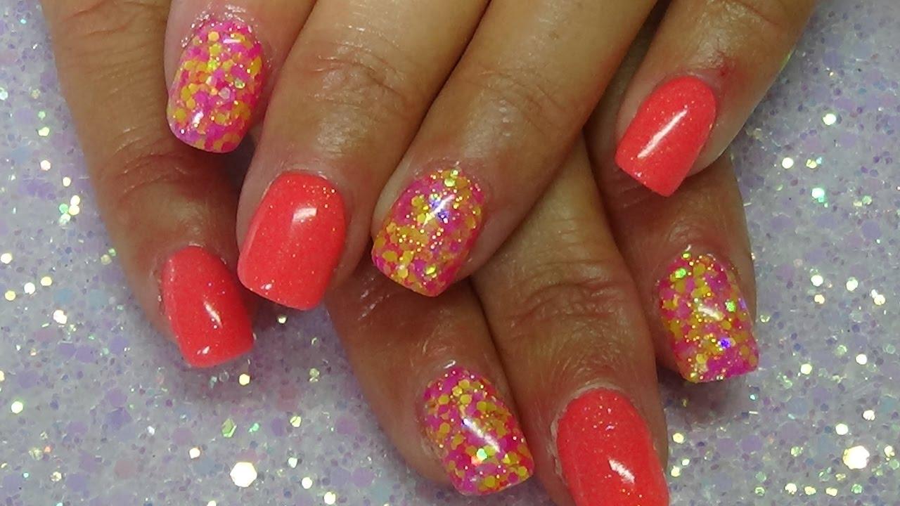 Bright coral neon acrylic nails (naio nails) - YouTube