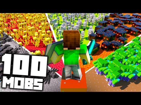1 Player Vs 100 Of Every Mob In Survival Minecraft!