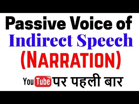 Passive Voice Of Indirect Speech || Passive Voice Of Narration || English Grammar || CGL MAINS