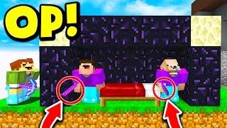 OVERPOWERED BED DEFENSE TROLL! (Minecraft BED WARS)
