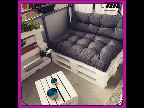Diy sofa paletten sofa balkon m bel selber bauen youtube for Balkon sofa