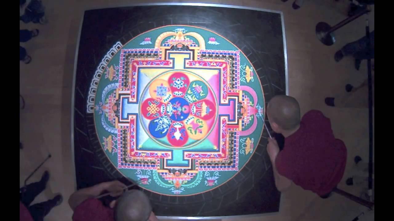 Tibetan monks sand art house of cards