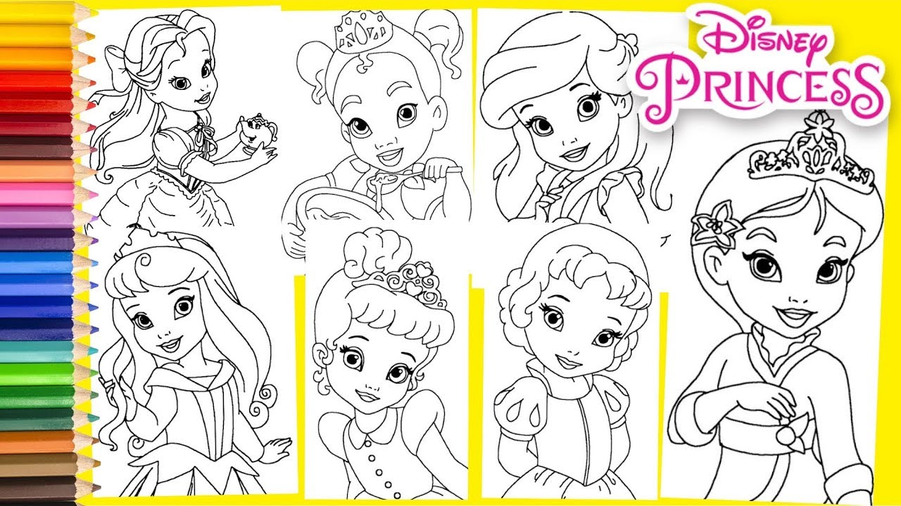 Disney Princess Toddlers Belle Cinderella Aurora Ariel Coloring Pages For Kids Youtube