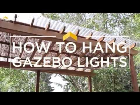 How To Hang String Lights On Gazebo : How to Hang Gazebo Lights - YouTube